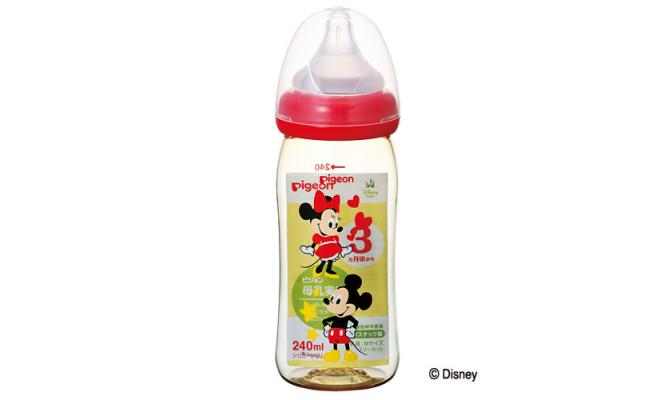 PIGEON母乳真實感奶瓶塑料240ml 米奇米妮 紅色