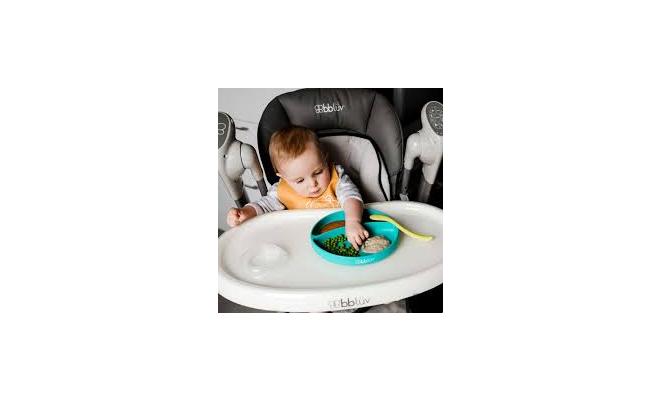 加拿大 BBLUV 矽膠餐盤和匙羹套裝 粉綠色