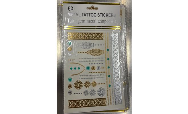 閃耀 金屬 金銀 紋身貼紙 Tattoo #50