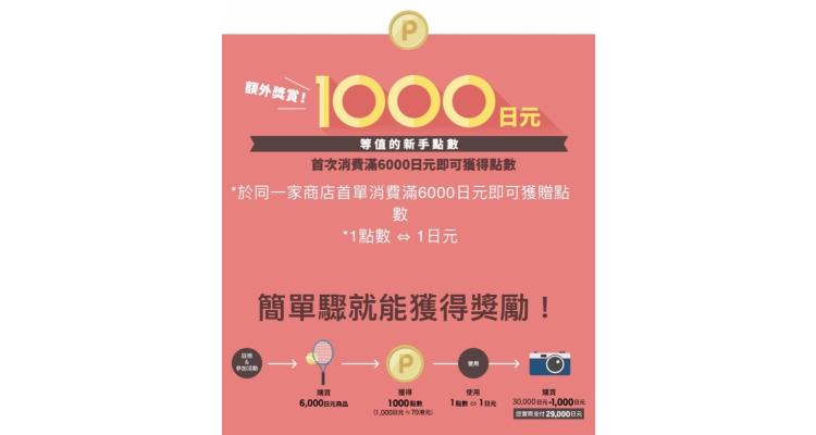 首次Rakuten Global購物獲1,000樂天點數