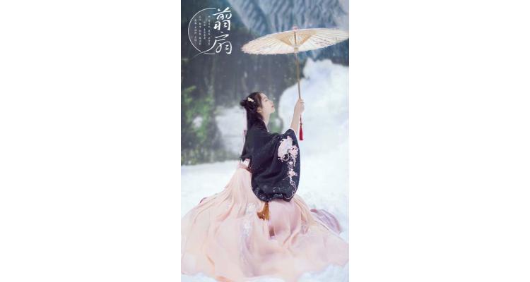 新款传统汉服女装大袖交领襦裙双层齐腰折扇绣花秋冬清新日常古装
