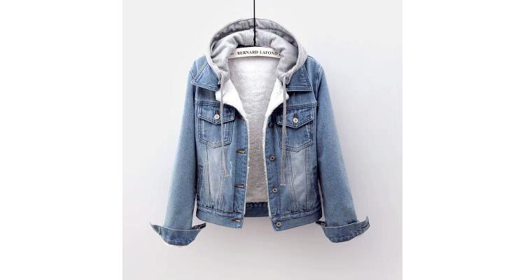 牛仔棉衣女短款冬装韩版显瘦加绒加厚外套可拆连帽保暖羊羔绒棉服