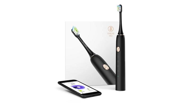 素士声波电动牙刷 成人充电式自动震动防水美白智能 X3黑