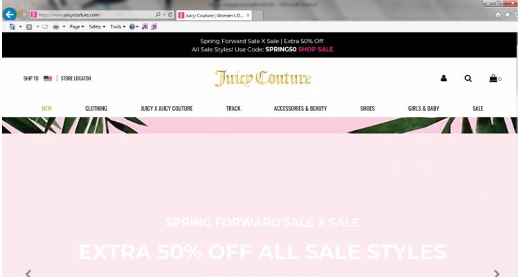 Juicy couture美國官網減價區再半價