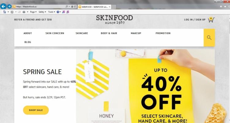 Skinfood 美國官網大減價 40% off
