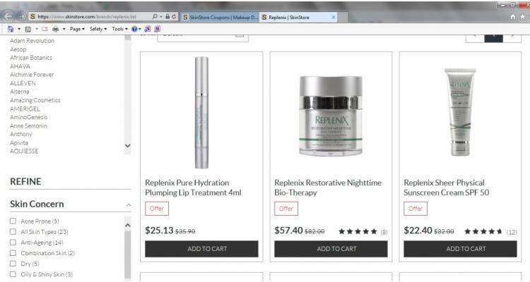 護膚品牌 Replenix七折優惠