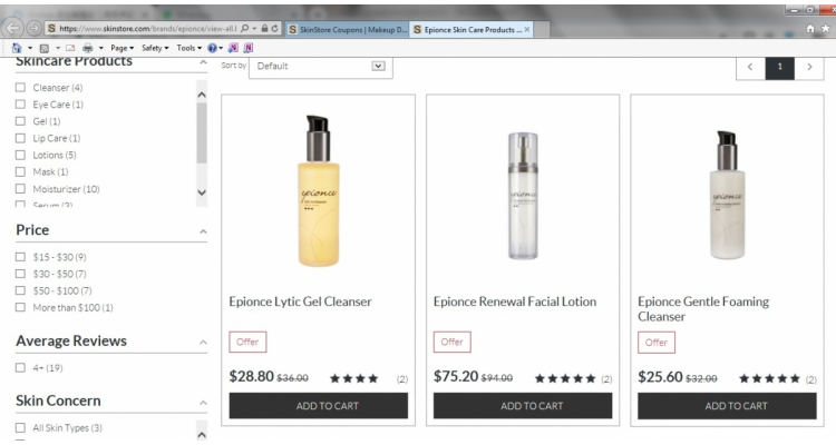 護膚品牌Epionce八折優惠