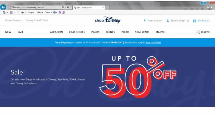 美國Disney官網大量貨品半價優惠