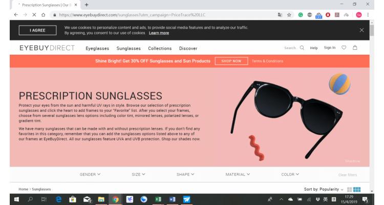 EyeBuyDirect.com精選太陽眼鏡特價