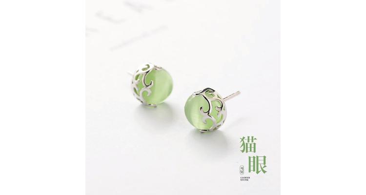 森系镂空花纹耳钉纯银韩国女猫眼石气质耳环简约个性学生耳饰清新