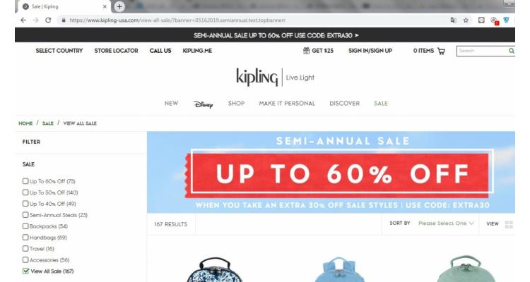 Kipling美國官網減價區額外7折