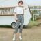 2019新款小清新休闲套装女夏显瘦洋气抹茶绿中学生裤子网红两件套