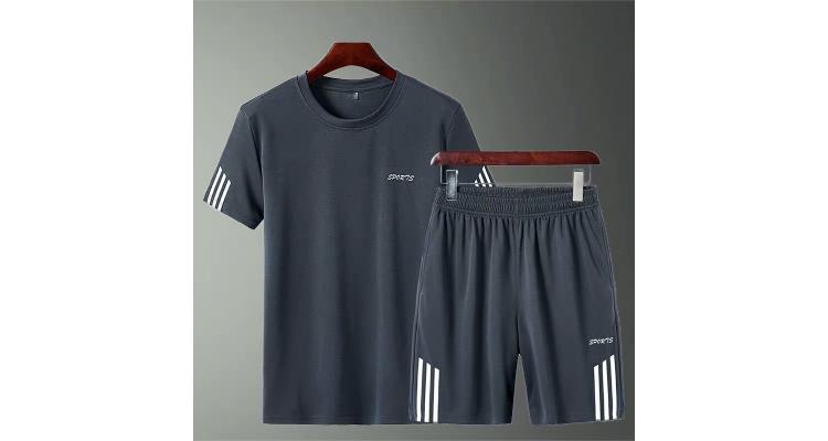 男装夏天运动套装短裤两件套男士短袖t恤运动服宽松休闲裤套装男