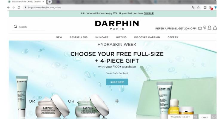Darphin美國官網滿$100送貨裝1件及旅行裝產品