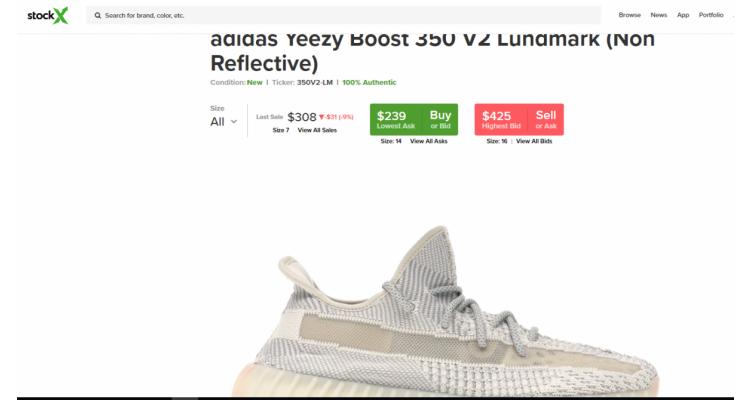 stock X addidas 鞋