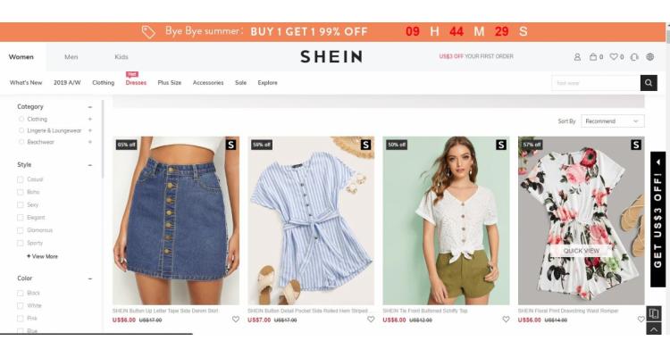 歐美流行女裝網購平台 SHEIN 夏日激減