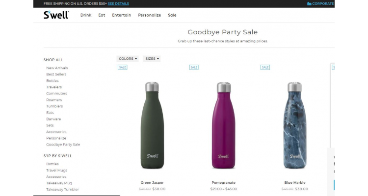 S'well 官網Goodbye Party Sale