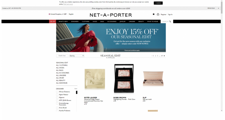NET-A-PORTER 精選美妝8.5折熱賣