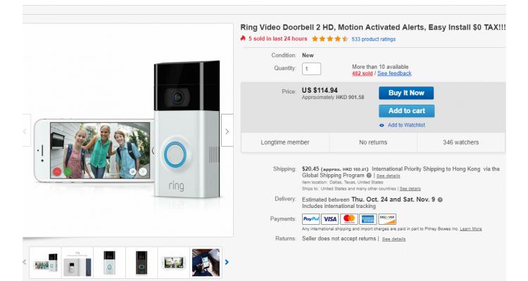 ring video doorbell 2 智能門鐘