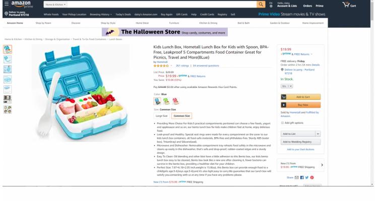 Amazon.com 有 Hometall 兒童午餐盒$9.99