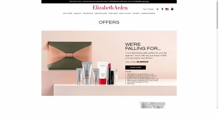 Elizabeth Arden 訂單滿$175可享7折