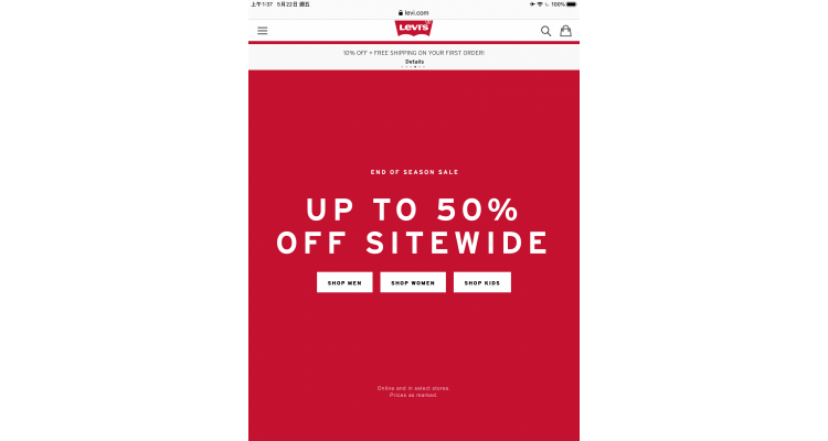 LEVI's up to 50% off