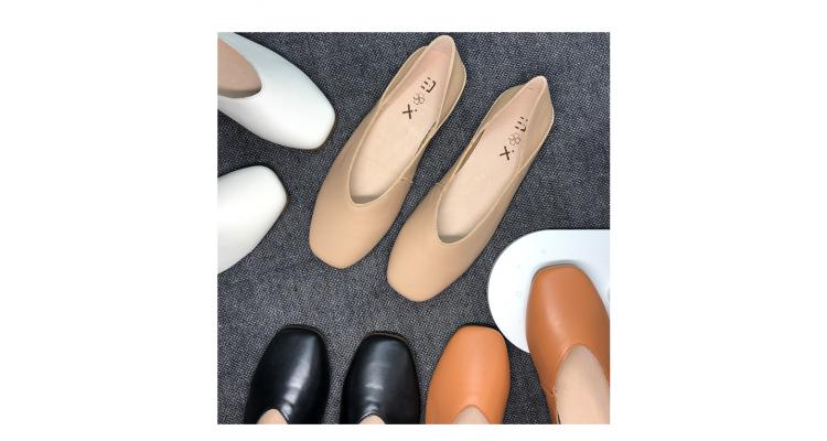 皮質平底鞋