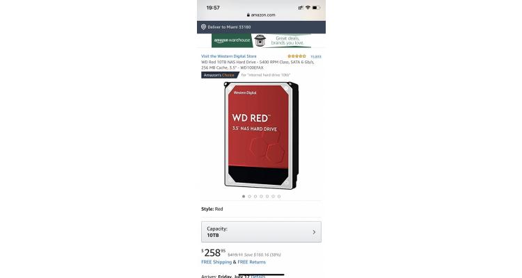 WD 紅盤 10TB NAS 機械硬盤特價