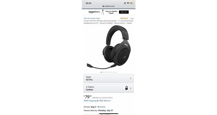 CORSAIR HS70 7.1聲道 PC無線電競耳機特價