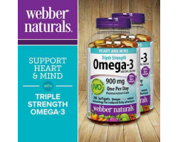 Webber Naturals 3倍强度Omega-3魚油900mg(有效期:2021/10)