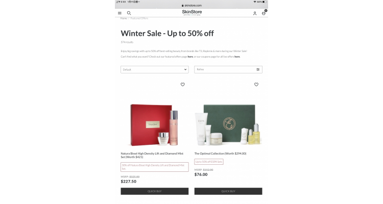 SkinStore sale up to 50% off