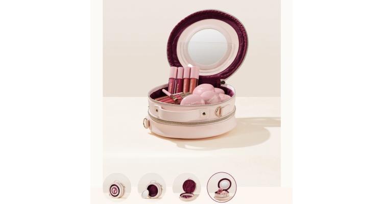 RareBeauty 馬卡龍形 兩隔層連鏡化妝袋