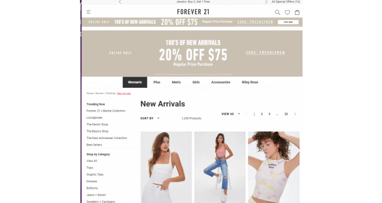 Forever 21 new arrivals 20% off