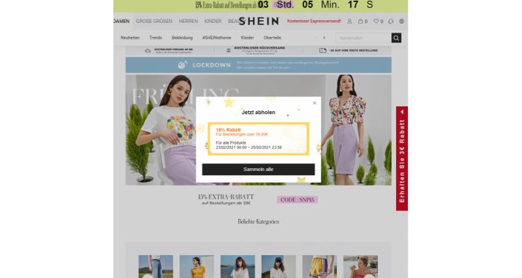 德國時裝shein sitewide 15% off