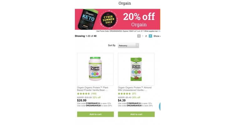 Orgain brand 20% off