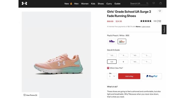 UnderArmour girls shoes 40% off