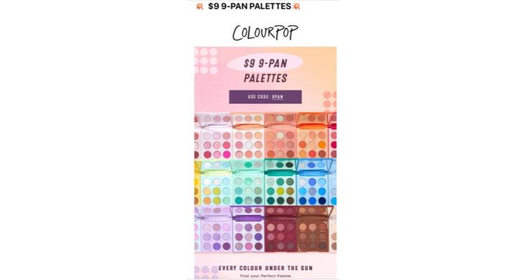 Colourpop 9色眼影盤特價 US$9