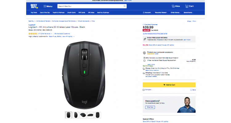 Logitech無線鼠標$39.99(原價$59.99)