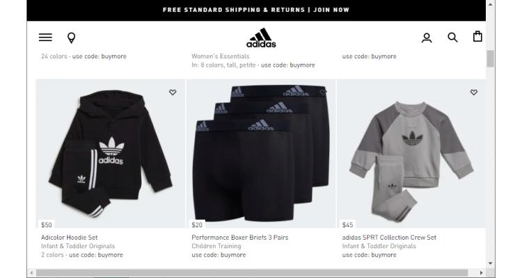 adidas 滿$50享額外8折, $125享額外7.5折