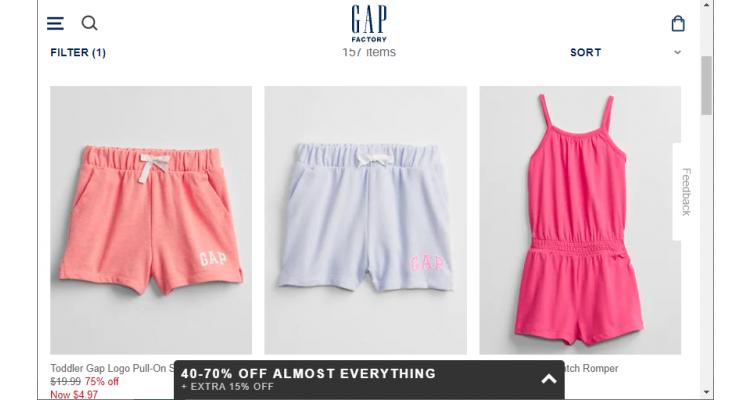 Gap Factory 兒童服飾低至3折+額外5折